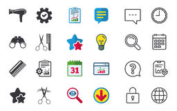 Hairdresser icons. Scissors cut hair symbol. Comb hair with hairdryer sign. Chat, Report and Calendar signs. Stars, Statistics and Download icons. Question stock illustration