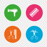 Hairdresser icons. Scissors cut hair symbol. Comb hair with hairdryer sign. Round buttons on transparent background. Vector vector illustration