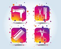Hairdresser icons. Scissors cut hair symbol. Comb hair with hairdryer sign. Colour gradient square buttons. Flat design concept. Vector royalty free illustration