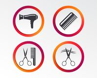 Hairdresser icons. Scissors cut hair symbol. Comb hair with hairdryer sign. Infographic design buttons. Circle templates. Vector stock illustration
