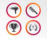 Hairdresser icons. Scissors cut hair symbol. Comb hair with hairdryer symbol. Barbershop laurel wreath winner award. Infographic design buttons. Circle royalty free illustration