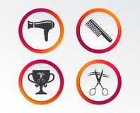 Hairdresser icons. Scissors cut hair symbol. Comb hair with hairdryer symbol. Barbershop winner award cup. Infographic design buttons. Circle templates. Vector vector illustration