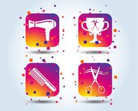 Hairdresser icons. Scissors cut hair symbol. Comb hair with hairdryer symbol. Barbershop winner award cup. Colour gradient square buttons. Flat design concept stock illustration