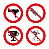 Hairdresser icons. Scissors cut hair symbol Royalty Free Stock Photo