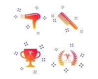 Hairdresser icons. Scissors cut hair symbol. Vector. Hairdresser icons. Scissors cut hair symbol. Comb hair with hairdryer symbol. Barbershop laurel wreath vector illustration
