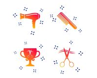 Hairdresser icons. Scissors cut hair symbol. Vector. Hairdresser icons. Scissors cut hair symbol. Comb hair with hairdryer symbol. Barbershop winner award cup royalty free illustration