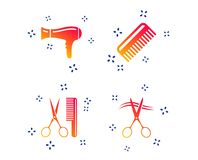 Hairdresser icons. Scissors cut hair symbol. Vector. Hairdresser icons. Scissors cut hair symbol. Comb hair with hairdryer sign. Random dynamic shapes. Gradient vector illustration