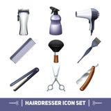 Hairdresser Icons Set Stock Photos