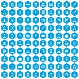 100 hairdresser icons set blue. 100 hairdresser icons set in blue hexagon isolated vector illustration Vector Illustration