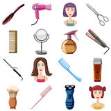 Hairdresser icons set, cartoon style Stock Photos