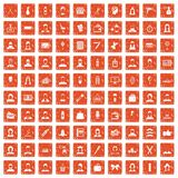 100 hairdresser icons set grunge orange. 100 hairdresser icons set in grunge style orange color isolated on white background vector illustration vector illustration