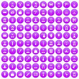 100 hairdresser icons set purple. 100 hairdresser icons set in purple circle isolated vector illustration Stock Photos