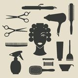Hairdresser icons set Royalty Free Stock Images