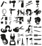 Hairdresser icons on white Royalty Free Stock Photography