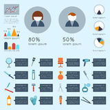 Hairdresser infographic set. With charts beauty haircut accessories and equipment vector illustration Royalty Free Stock Photo
