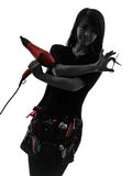 Hairdresser make up artist woman silhouette Stock Photos