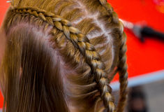Hairdresser makes braids Stock Photos