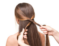 Hairdresser makes hairstyle girl long straight hair, isolated on white royalty free stock image