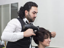 Hairdresser makes hairstyle Royalty Free Stock Images