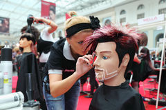 Hairdresser makes hairstyle for manikin royalty free stock image