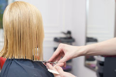 A hairdresser making haircut for a blonde female Stock Image