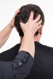 Hairdresser male doing head massage Royalty Free Stock Photos