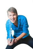 Hairdresser man with hairspray on isolated white Stock Photo