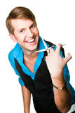 Hairdresser Man With Scissors On Isolated White Stock Images