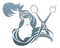 Hairdresser Man and Woman Scissors Concept. A man and woman having her hair cut by hairdresser scissors Stock Photo