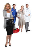 Hairdresser, mechanic, doctor and secretary. Royalty Free Stock Images