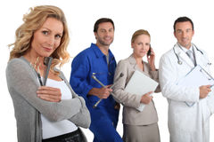 Hairdresser, mechanic, Nurse and secretary Stock Images