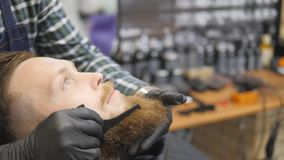 Hairdresser for men. Barbershop. Caring for the beard. Barber with hair clipper works on hairstyle for bearded guy. Barbershop background. Hipster lifestyle stock footage