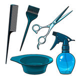 Hairdresser objects like scissors, brush, comb, coloring bowl, spray bottle Stock Photography
