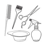 Hairdresser objects like scissors, brush, comb, coloring bowl, spray bottle Royalty Free Stock Photography