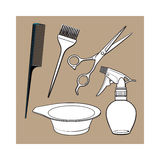 Hairdresser objects like scissors, brush, comb, coloring bowl, spray bottle Stock Images