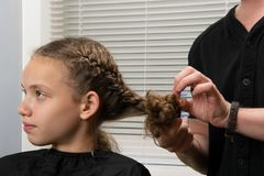 The hairdresser plaits a pigtail to the child, with curly hair Stock Photo