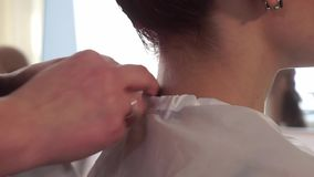 Hairdresser puts on the cape on the female client stock video footage