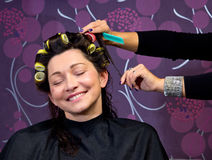 Hairdresser putting rollers in woman hair Stock Image