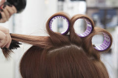 Hairdresser Rolling Up Curlers For Client Royalty Free Stock Photography