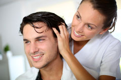 At the hairdresser's Stock Photography
