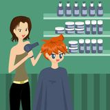 At the Hairdresser's. Cute cartoon guy getting his hair styled at the hair salon Stock Images