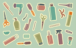 Hairdresser's accessories on stickers Stock Image