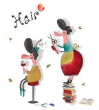 Hairdresser's representative poster. Artistic work. Watercolors on paper Royalty Free Stock Images