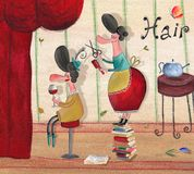 Hairdresser's representative poster. Artistic work. Watercolors on paper Stock Photo