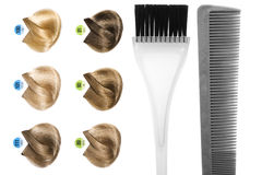 Hairdresser's tools. Palette of hair color sample and hairdresser's tools Royalty Free Stock Image