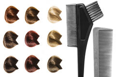 Hairdresser's tools. Palette of hair color sample and hairdresser's tools Royalty Free Stock Photography