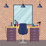 Hairdresser s workplace in woman beauty hairdressing salon. Chair, mirror, table, hairdressing tools, cosmetic products for hair c. Are. Barber shop interior vector illustration