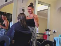 Hairdresser salon stylist stock video footage