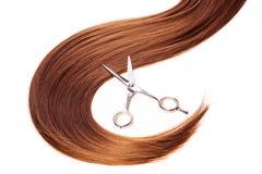 Hairdresser scissors on the hair Stock Image