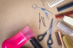 Hairdresser set with comb on top of background. Stock Image